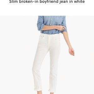 J. Crew slim broken in  boy jeans white